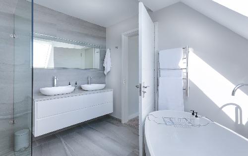 A simple white bathroom